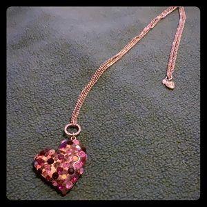 Betsey Johnson Leopard Heart Pendant Necklace